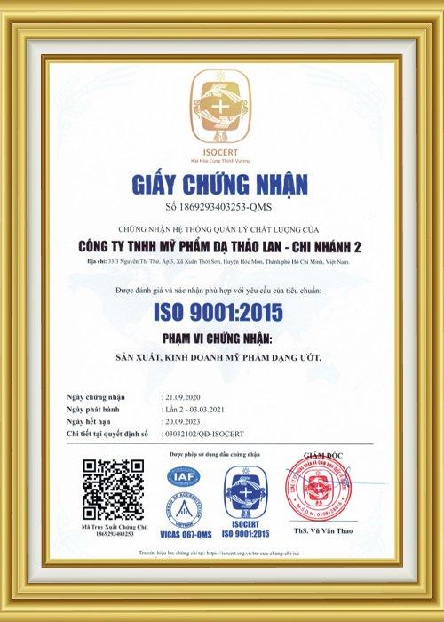 Giấy chứng nhận nhà máy đạt chuẩn ISO 9001