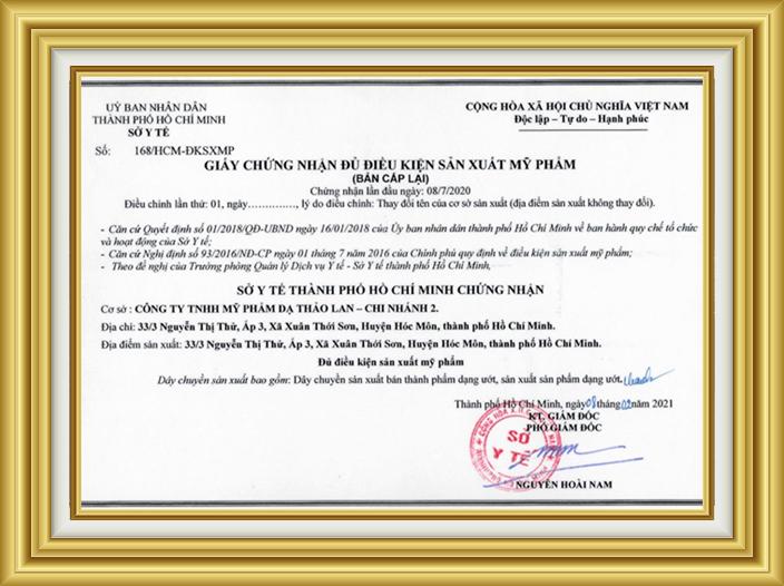 giay du dieu kien san xuat my pham Da Thao Lan